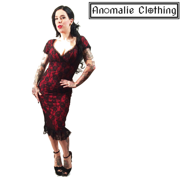 Red & Black Lace Spanish Harlot Annabella Dress