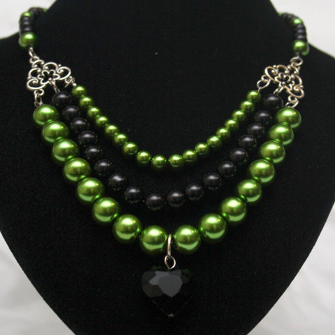 Lime Green and Black Faux Pearl Triple Strand Necklace with Black Crystal Heart - Discontinued