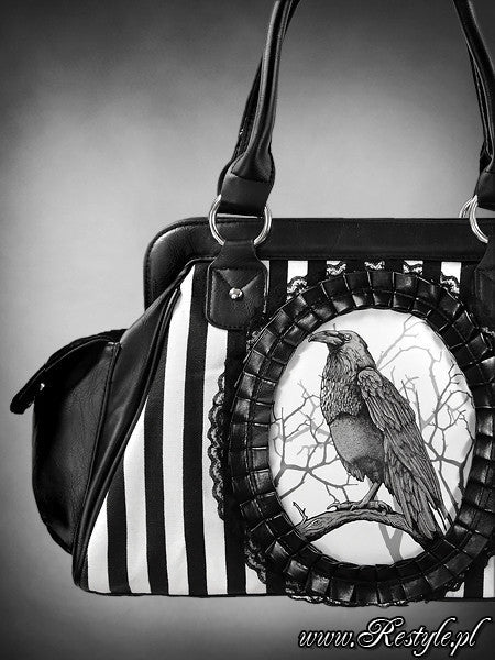 Black & White Raven Handbag