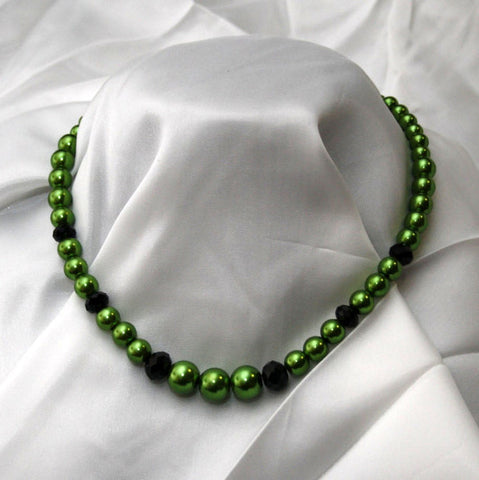 Lime Green Pearl & Black Crystal Necklace