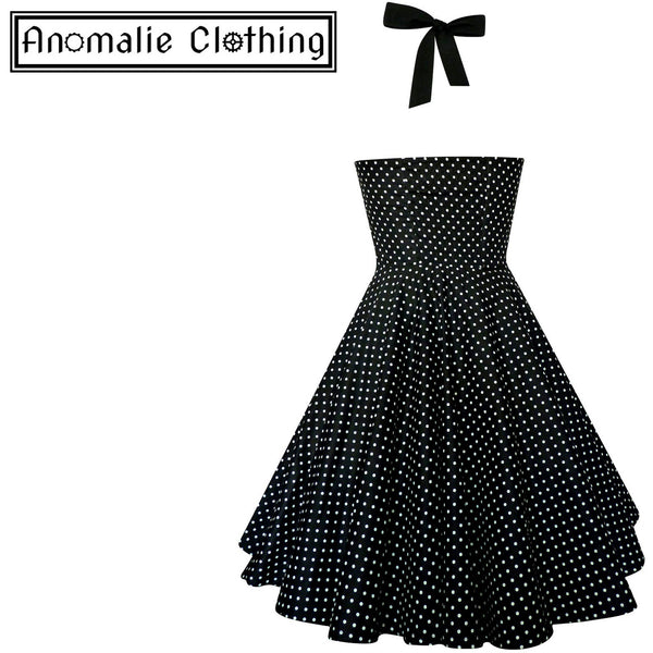 Black & White Small Polka Dot Ashley Dress