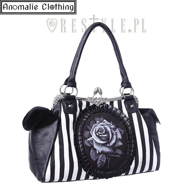 Black Rose Cameo Striped Handbag