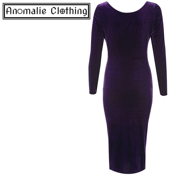 Marge Velvet Wiggle Dress in Gothic Grape