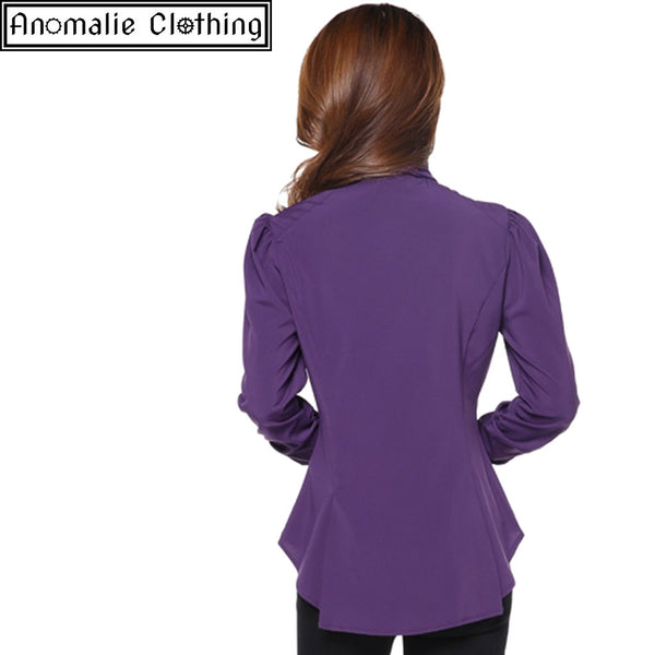 Steampunk Blouse with Ruched Sleeves in Purple