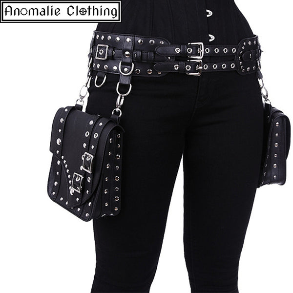 Steampunk Saddlebag Utility Belt in Black
