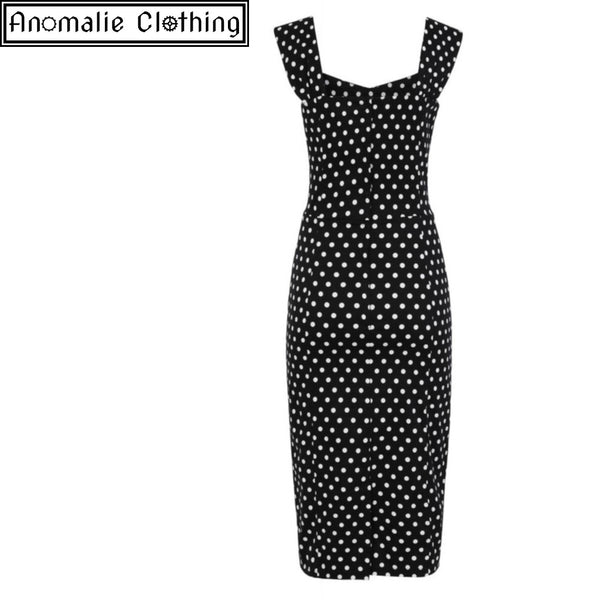 Jill Polka Dot Pencil Dress in Black and White