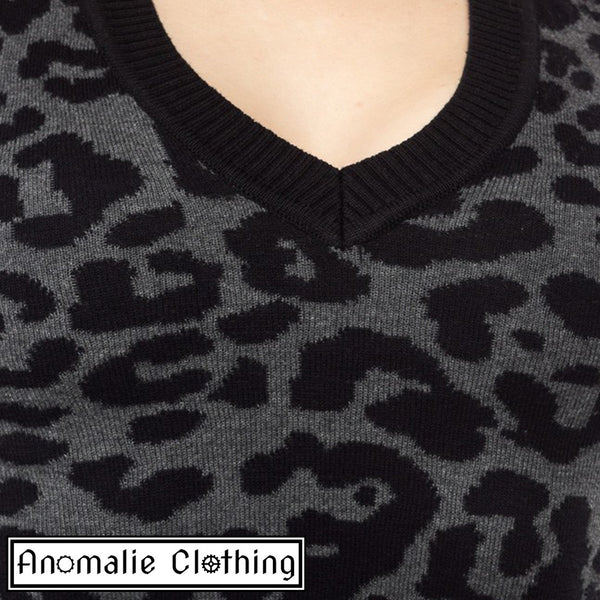 Leopard Print Sweater in Grey - Discontinued
