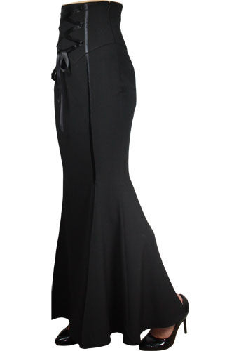 Black Corset Waisted Long Skirt