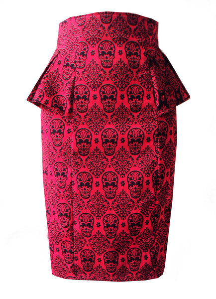 Red Sugar Skull Peplum Skirt