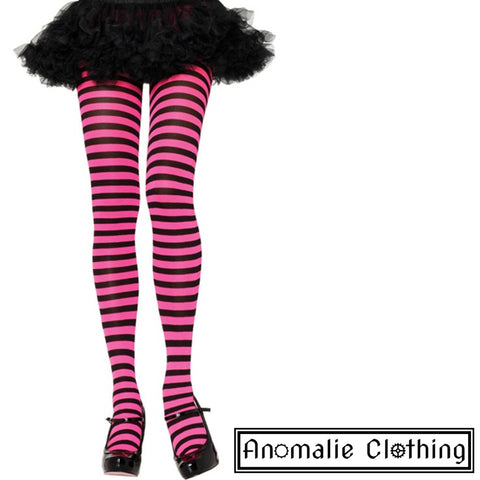 Striped Tights in Fuschia & Black