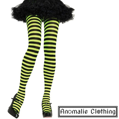 Striped Tights in Lime Green & Black