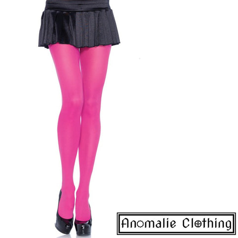 Opaque Nylon Tights in Neon Pink