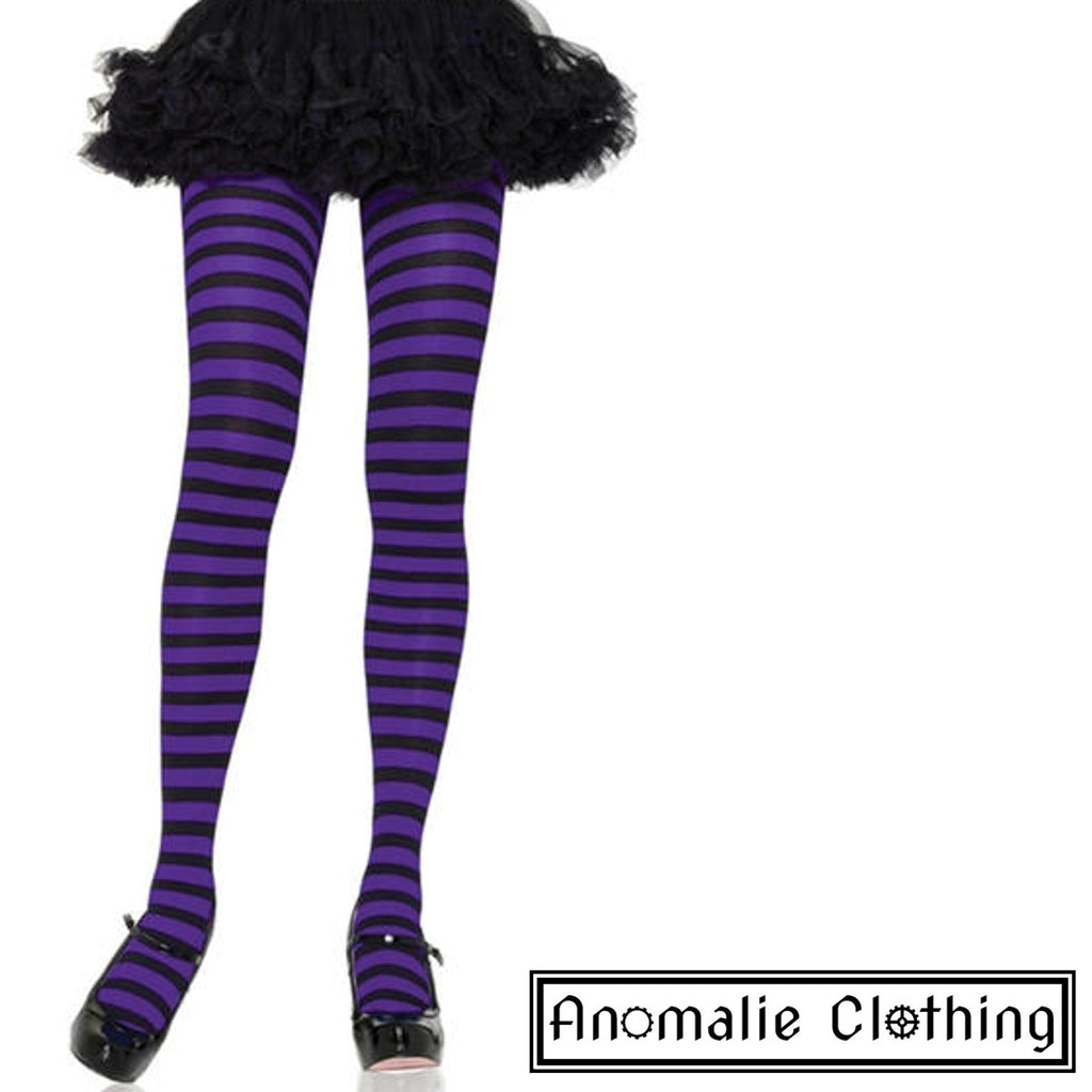 Striped Tights in Purple & Black