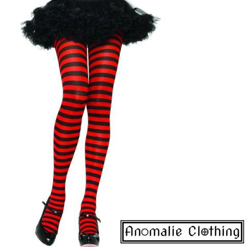 Striped Tights in Red & Black