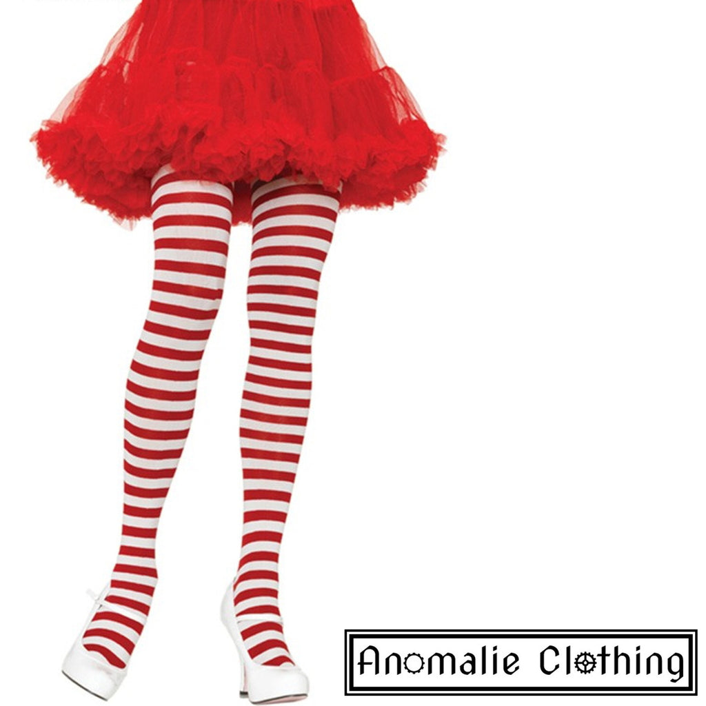Striped Tights in Red & White