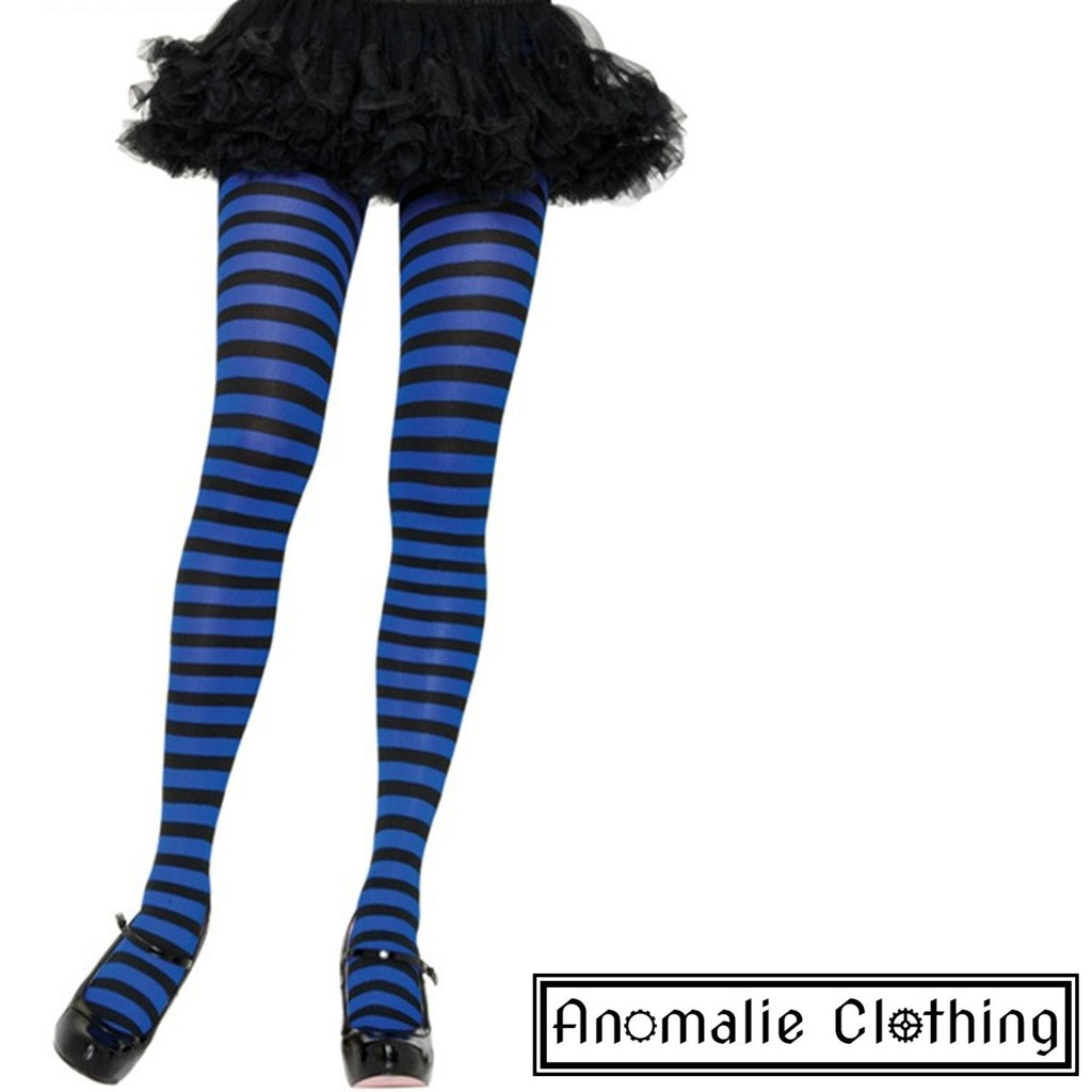Striped Tights in Royal Blue & Black