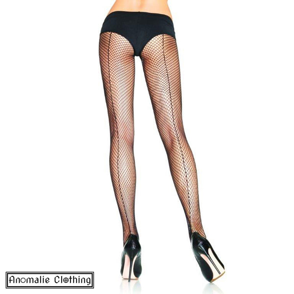 Backseam Fishnet Pantyhose in Black