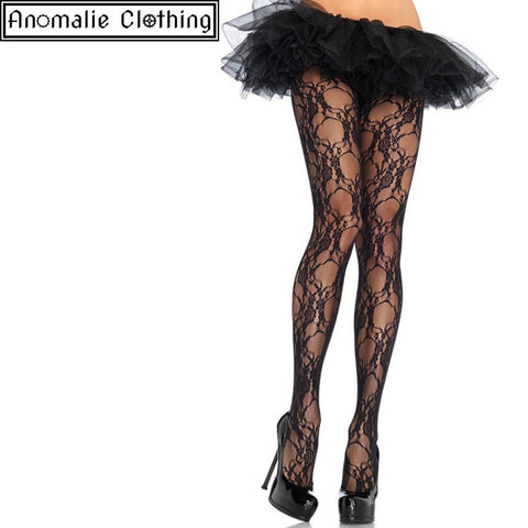 Floral Lace Pantyhose in Black