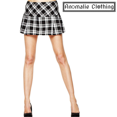Black & White Tartan Mini Skirt