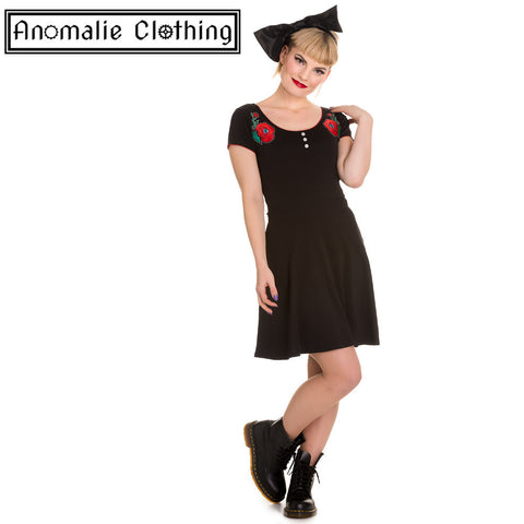 Black & Red Creepy Rose Dress - One Size XS left!