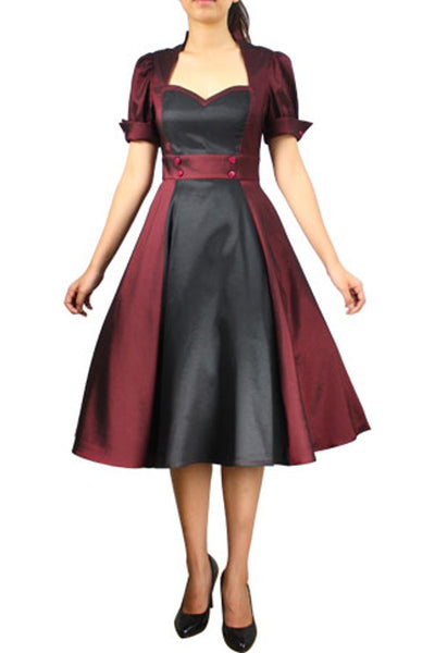Burgundy & Black Contrast Swing Dress