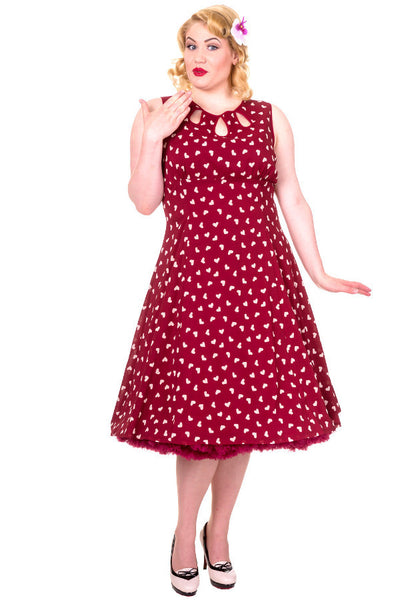 Songbird Dress in Red With Love Hearts