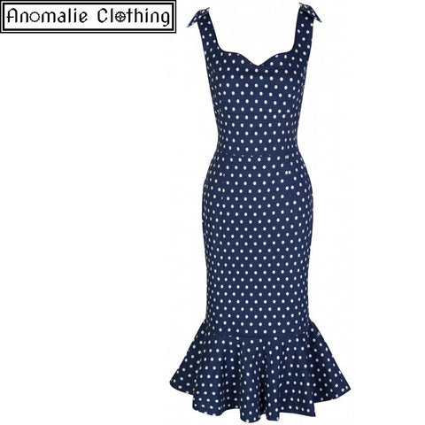 Ariel Wiggle Dress in Navy Blue with White Polka Dots