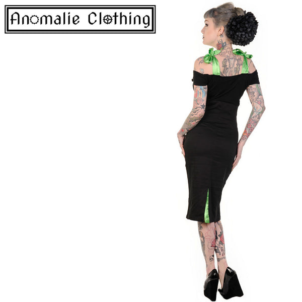 Green & Black Frankenstein and Bride Pencil Dress