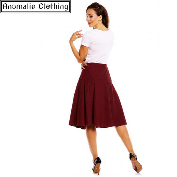 Ella Vintage Inspired Flared Skirt in Burgundy