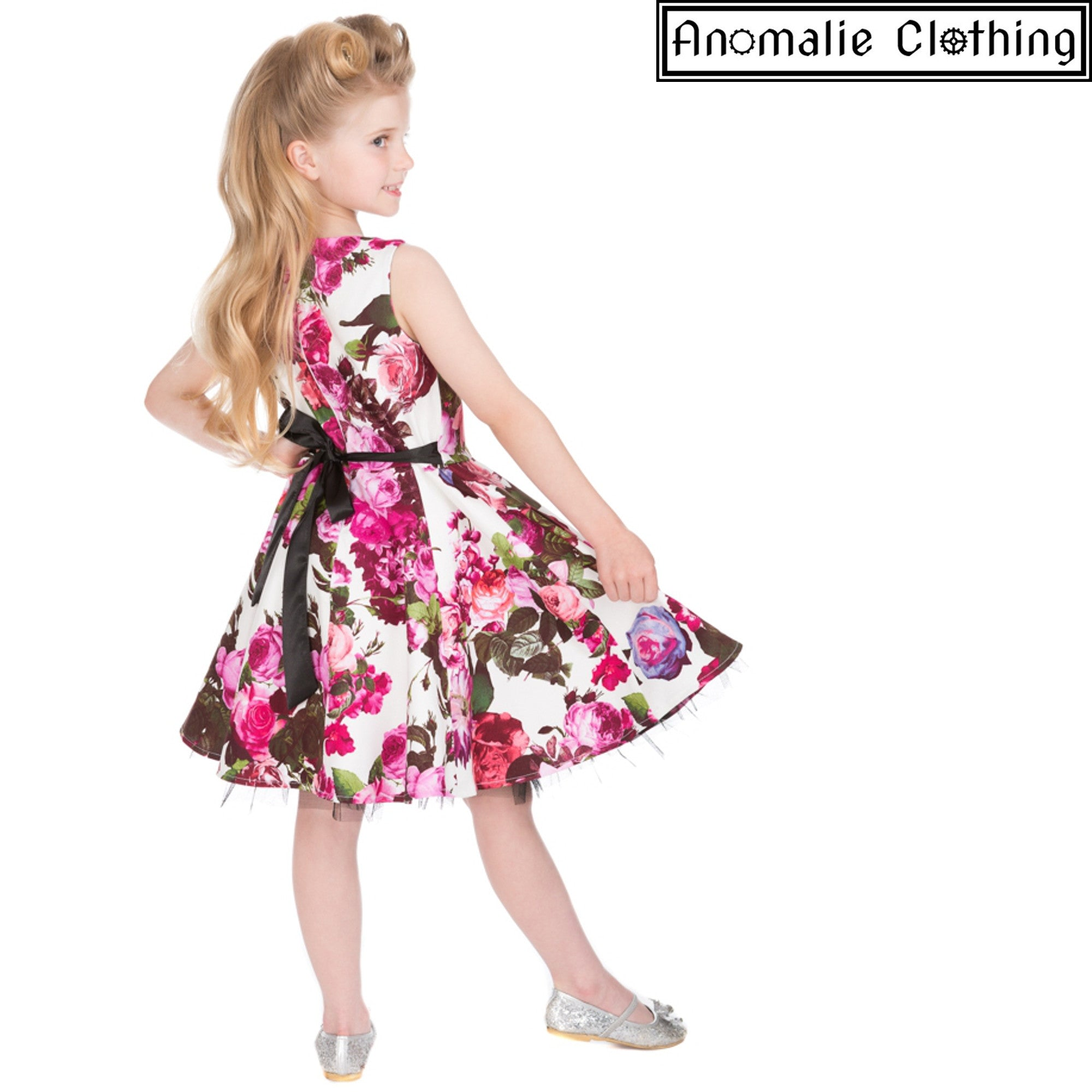 a5986dec1 Hearts and Roses Audrey Pink Floral Childrens Dress 1950s Kids ...