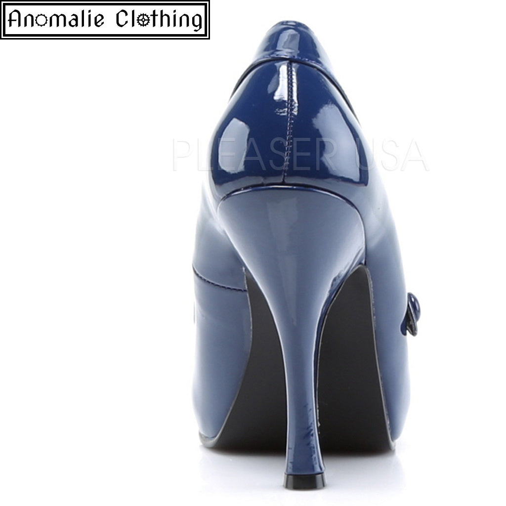 3a7cac9eb61 Pin Up Couture Navy Blue Patent Cutie Pie High Heel Pumps 1950s Retro  Rockabilly