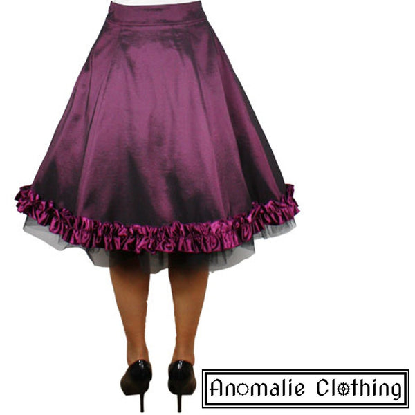 Purple Satin Ruffled Skirt - Discontinued