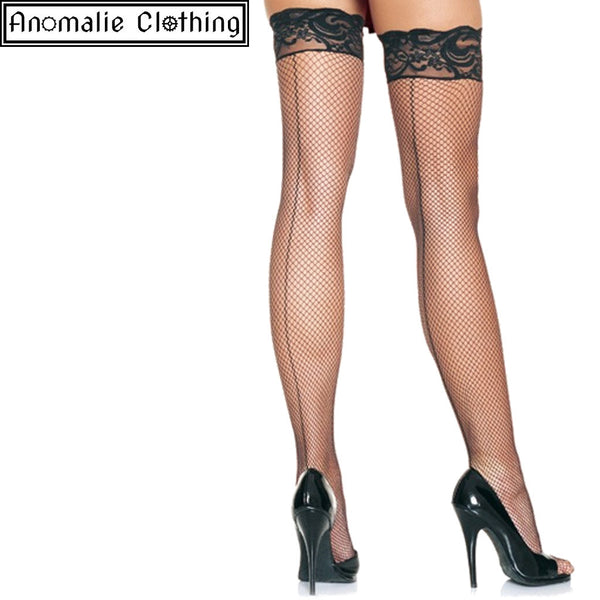 Backseam Fishnet Stay Up Stockings in Black