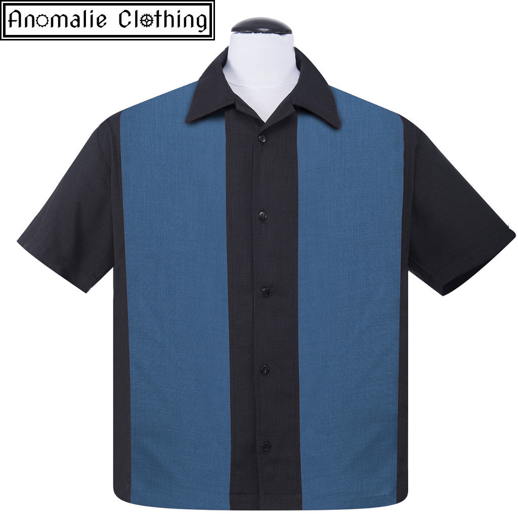 Black & Blue Mid Panel Button Up Mens Shirt