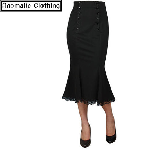 Black Double Button Skirt - Discontinued - One Size 36 (AU 8) left!