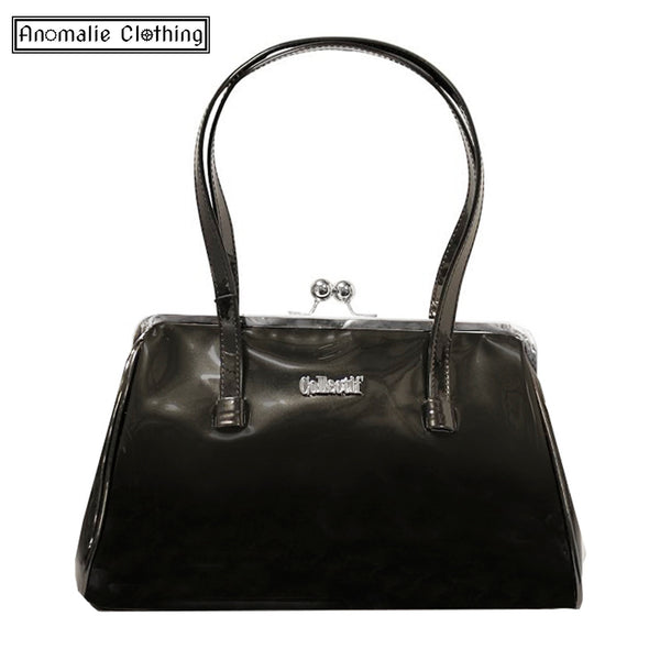 Black Retro Kiss Lock Handbag