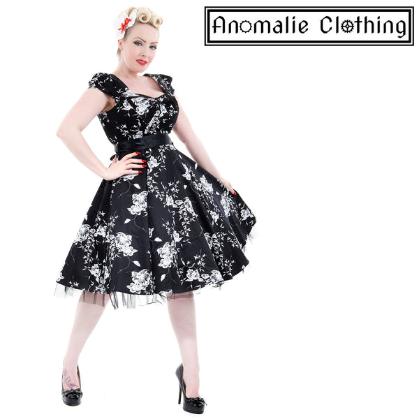 Black & White Floral Swing Dress