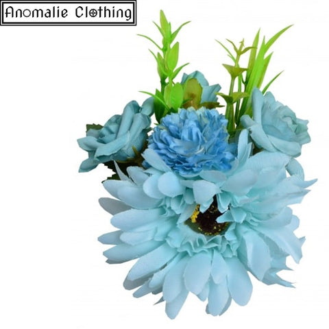 Country Garden Gerbera Hair Clip in Blue