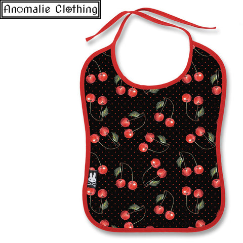 Cherry Black Baby Bib