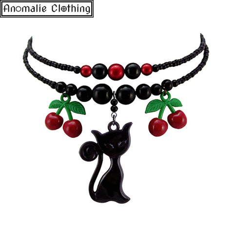 Cherry Cat Black Necklace - Discontinued