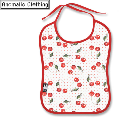 Cherry White Baby Bib