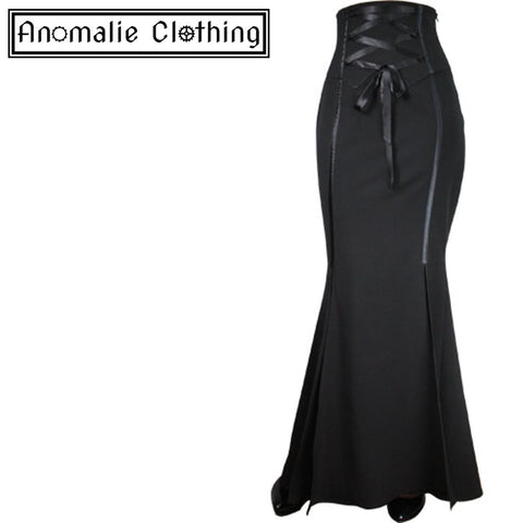 Black Corset Waisted Long Skirt - One Size P24 (AU 26) Left!