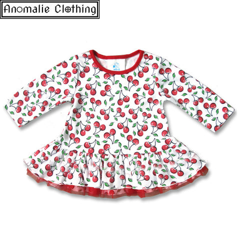 Cute Cherries Baby Dress - One Size 0-3 Months Left!