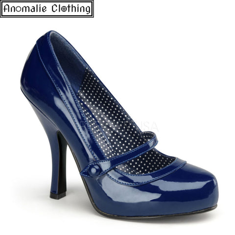 Cutie Pie Pumps in Navy Blue Patent Faux Leather