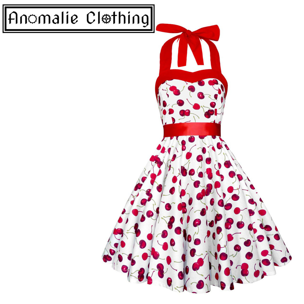 White Cherry Print Sandy Dress - Discontinued