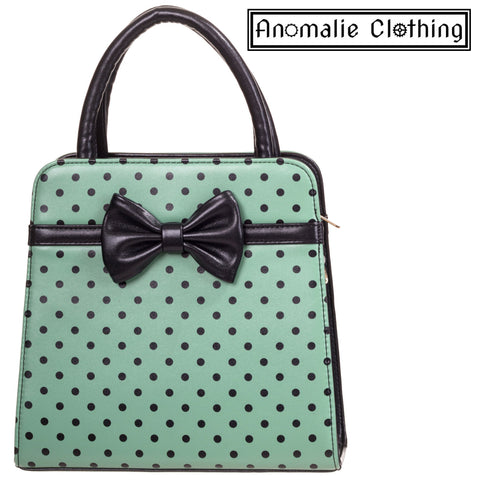 Carla Polka Dots & Bow Handbag in Antique Green and Black