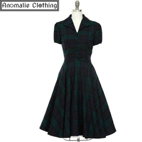 Mona Swing Dress in Blue & Green Tartan