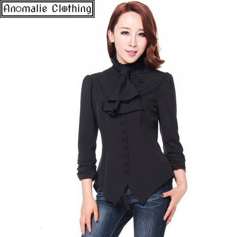 53b5f5a94fc80 Chic Star.  79.00 · Steampunk Blouse with Ruched Sleeves in Black