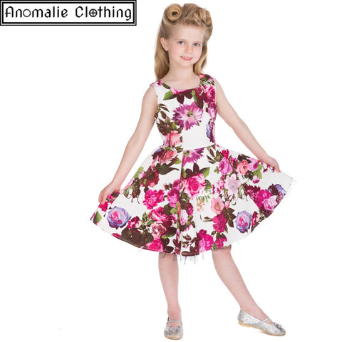 Audrey Pink and Cream Floral Children's Dress by Hearts and Roses London at Anomalie Clothing