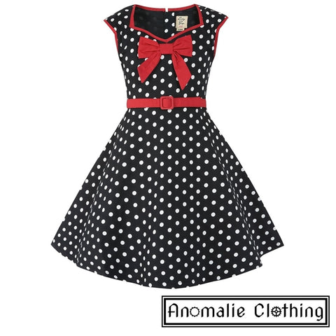 Black & White Polka Dot Mini Alanis Children's Dress - Discontinued